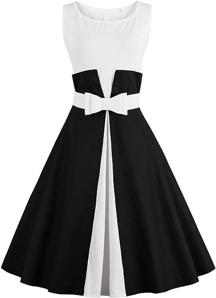 Damen 2018 Elegant A Linie 1990er Vintage Kleid Rockabilly Kleid Schicke Retro Kleid Mit Gurtel Schwarz Gr M Amazon De Bekleidung