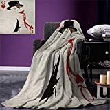 Anniutwo Queen Digital Printing Blanket Retro Style Woman Hat Playing Card Design Poker Casino Icon Gamble Custom Design Cozy Flannel Blanket 80''x60'' Vermilion Beige