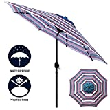 Sunnyglade 9′ Solar 24 LED Lighted Patio Umbrella with 8 Ribs/Tilt Adjustment and Crank Lift System (Red, White and Blue) Review