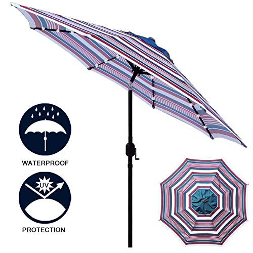 - Sunnyglade 9' Solar 24 LED Lighted Patio Umbrella with 8 Ribs/Tilt Adjustment and Crank Lift System (Red, White and Blue)