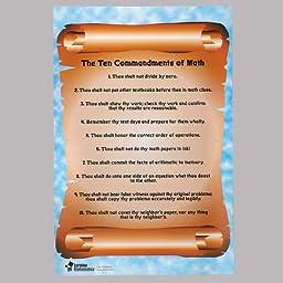 The 10 Commandments of Math Chart