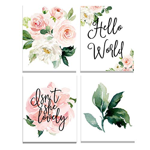 (Set of 4 Floral Nursery Wall Art Prints - Perfect For Baby Girl Room Decor Pink and Blush)