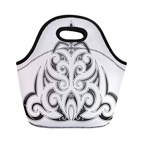 Semtomn Neoprene Lunch Tote Bag Polynesian Tribal Tattoo in Maori Abstract African Ancient Artistic Reusable Cooler Bags Insulated Thermal Picnic Handbag for Travel,School,Outdoors, Work