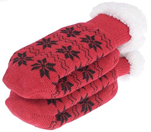 Gewilde Womens Thermische Slipper Sokken Sneeuwvlok Rood