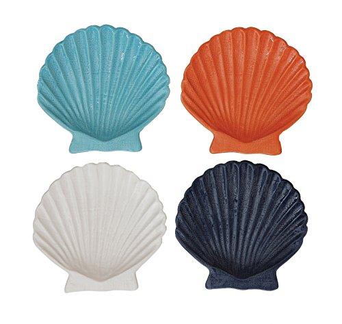 Creative Co-Op DA7248 Ceramic Embossed Shell Plates, ()