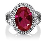 GemStoneKing 7.19 Carat 14X10MM Oval Red Created Ruby Women's Ring Solid 925 Sterling Silver Cocktail Ring (Available in size 5, 6, 7, 8, 9)
