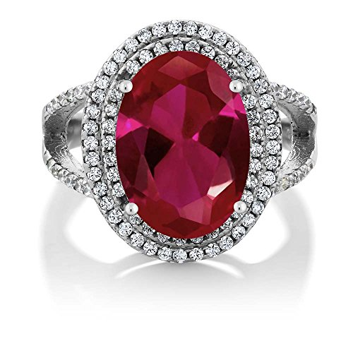 Gem Stone King 925 Sterling Silver Red Created Ruby Women's Solid Cocktail Ring 7.19 Carat 14X10MM Oval Available 5,6,7,8,9 (Size 9)