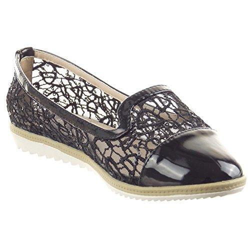 Sopily - Scarpe da Moda ballerina alla caviglia donna lucide merletto Tacco zeppa piattaforma 2 CM - Nero
