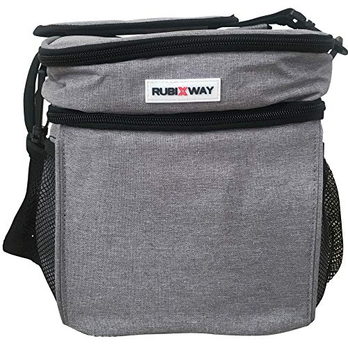 Rubix Way Double Decker Lunch Bag - Insulated and Leakproof with Shoulder Strap Plus 2 Big Mesh Side Pockets to Hold Water Bottles - Large Reusable Meal Prep Lunch Box for Men, Women, and Kids ()