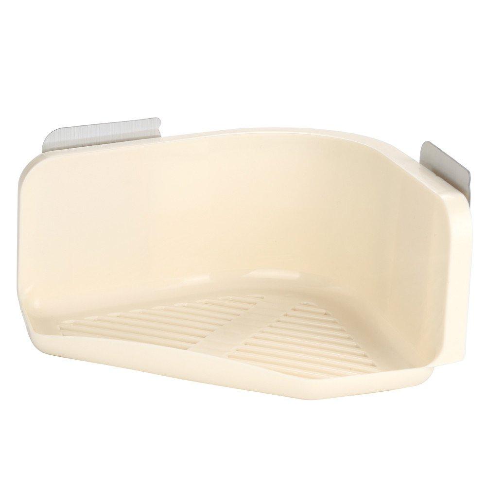 Pgojuni Plastic Suction Cup Bathroom Kitchen Corner Storage Rack Organizer Shower Shelf 1pc (Beige)