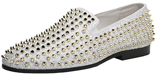 JUMP NEWYORK Men's Luxor Smoking Slipper Dress Shoe White Gold 9 D US by JUMP NEWYORK