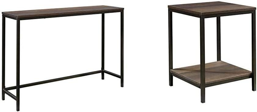 Sauder North Avenue Sofa Table, Smoked Oak Finish & North Avenue Side Table, Smoked Oak Finish