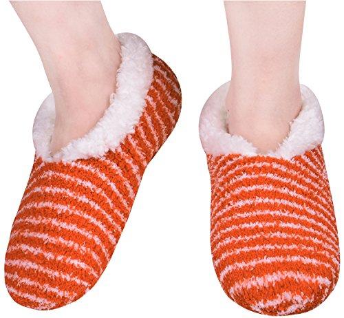 Le Donne Calzino Caldo Pantofole Con Le Pinze Calzini Da Passeggio Al Coperto Non Skid Bootie Arancione
