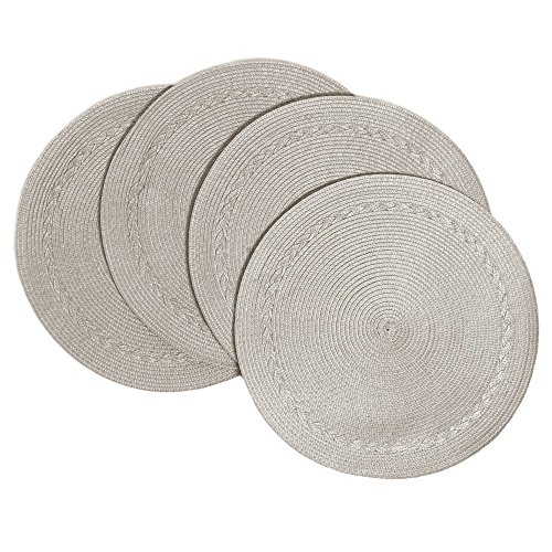 Benson Mills Braided Edge Round Placemats (Set of 4), 15 Inch, Stone