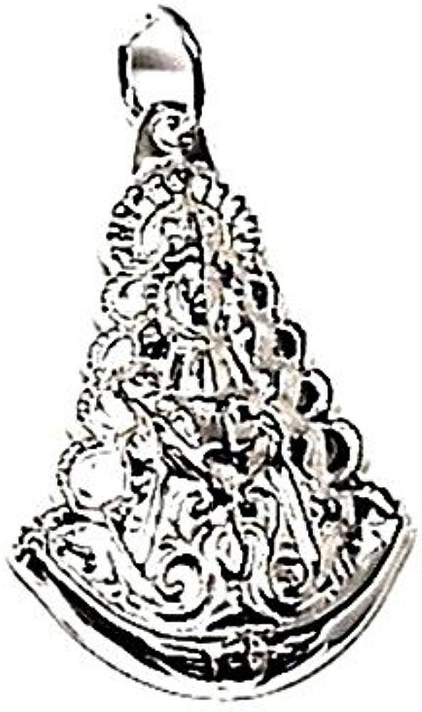 Medalla Colgante Plata Ley 925M Virgen Del Rocío 25mm. Estampada Tallada Reasa Lisa