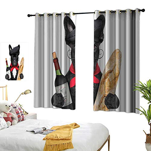 Mannwarehouse Simple Curtain Bulldog French Dog in a Hat with Red Wine and Baguette Bread Gourmet Parisienne Animal Simple Style 55
