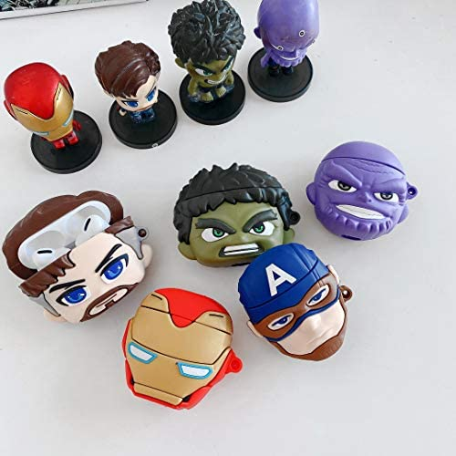 Marvel Superheros Hulk AirPods Case Protective Cover Soft Silicone Shockproof for Apple AirPods Pro, Avengers 3D Bag Pendant Decor Keychain Airpod Case (Hulk Airpods Pro) 51lKJSeVR 2BL