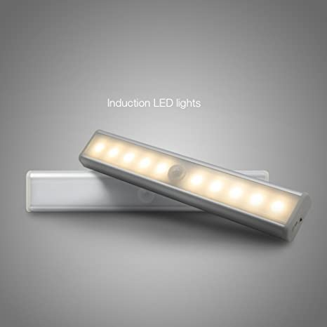 OKE 2*10 LEDs Lámpara Nocturna Apliques, Banda Magnética con Sensor de Movimiento,