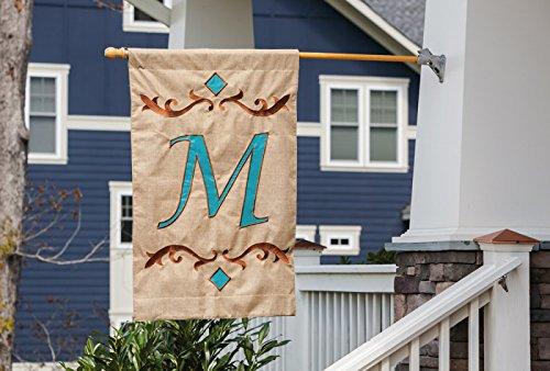 Garden Burlap Teal Monogram M Flag, 12.5X0.25X18 Inches