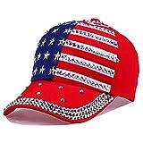 USA Bling Baseball Cap Sparkle American Flag Hat Men Women Hip Hop Caps (Red)