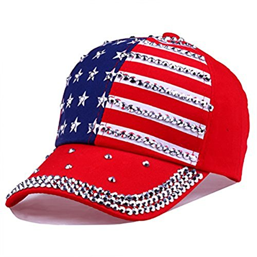 USA Bling Baseball Cap Sparkle American Flag Hat for Men Women Hip Hop Caps (Red)