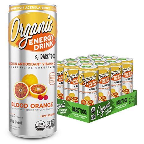 Organic Energy Drink by Dark Dog - Blood Orange 12 Oz (12 Count) Powerful Organic Caffeine From Green Coffee, Green Tea & Guarana | High In Antioxidant Vitamin C From Superfruit Acerola Berry