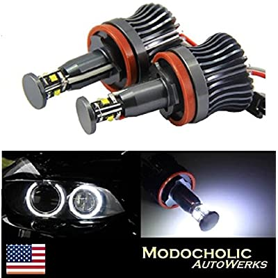 Modocholic 40W H8 CREE R4 LED Angel Eye Halo Light Bulbs 6000K for BMW E92 E93 E90 X5 White Error Free 2400Lm: Automotive