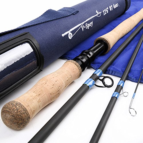 Maxcatch Spey Fly Rod 4-piece Carbon Spey Rod Fly Fishing with Cordura Tube(12'6'' 7weight) - Fly Rod Sock 4 Piece