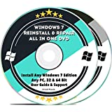 Windows 7 Compatible Repair & Reinstall Disc Set: Recovery Reboot Restore Fix Factory Reset - 32 & 64 Bit PC Computer Home Premium, Professional, Ultimate etc. + Drivers Install 2019 (2 DVD Set)