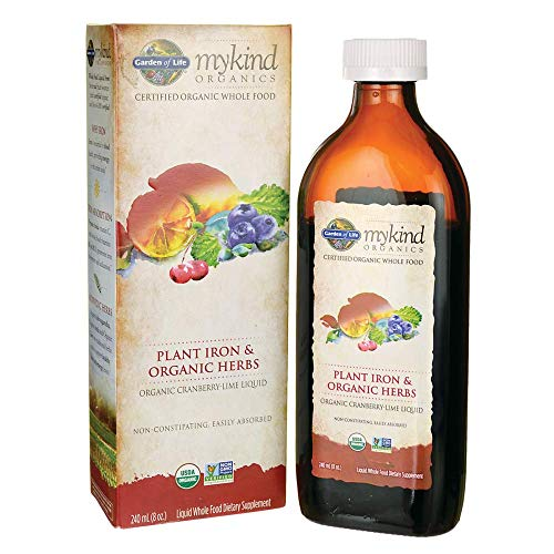 Iron Plan - mykind Organics Organic Plant-Sourced Iron + Herbs (Cranberry-Lime Liquid) 8oz Liquid