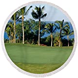 Pixels Round Beach Towel With Tassels featuring ''Golf Course Maui Hi'' by Pixels