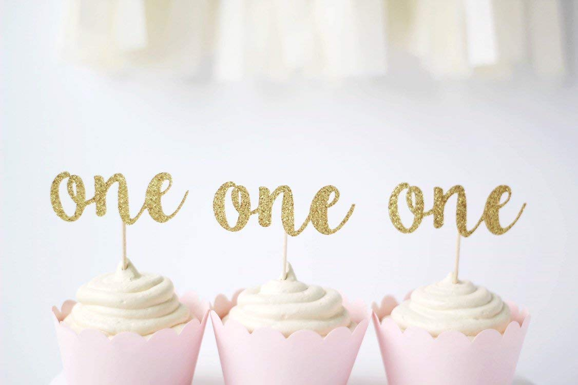 First Birthday Gold Glitter Number One Cupcake Topper/'s Set of 12
