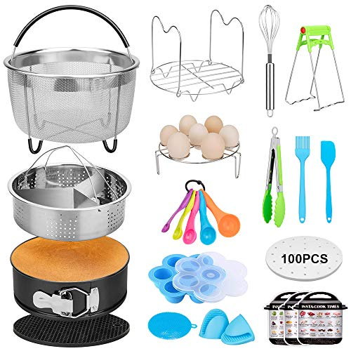 20 Pcs Pressure Cooker Accessories Compatible with 5,6,8 Qt Instant Pot, Steamer Basket Kitchen Tong Plate Gripper Egg Beater Springform Pan Egg Steamer Rack