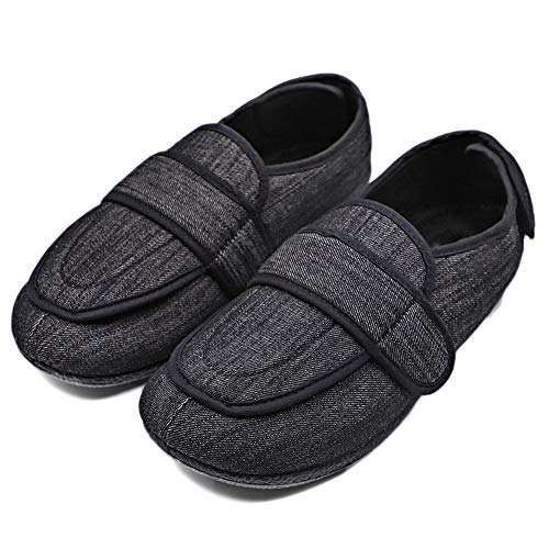 MEJORMEN Mens Extra Extra Wide Slipper Orthopaedic Adjustable Diabetic Edema Boot/Slippers for Swollen Feet, Black, 8M US