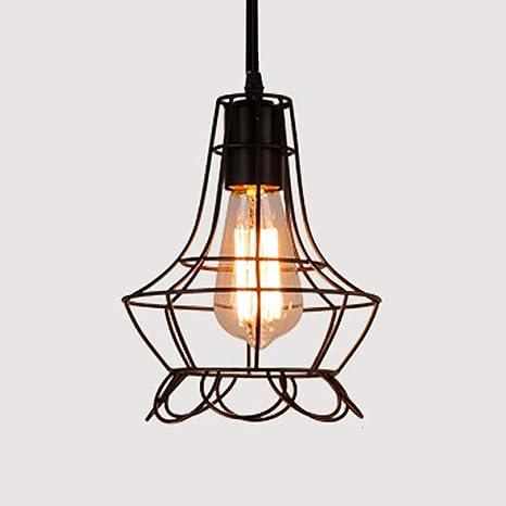 WSYYWD Lámpara de araña de jaula de hierro Lámpara colgante Simple ...