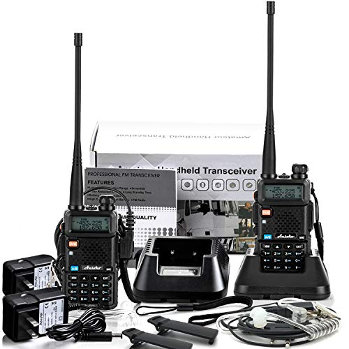 Ansoko Two Way Radio with Acoustic Tube Earpiece Dual Band walkie talkies VHF136-174/UHF400-520 MHz with FM Radio Reception (2 Pack) (Walky Talky Marine Band)