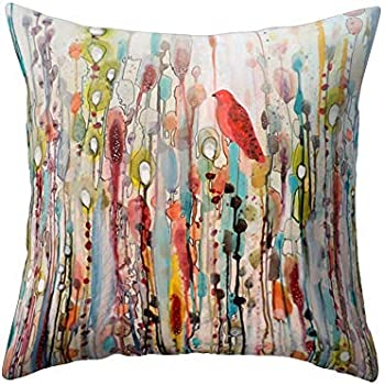 wintefei Win Bird Flower Throw Pillow Case 18x18 inch Bed Sofa Living Room Decor Cushion Cover? - 1#