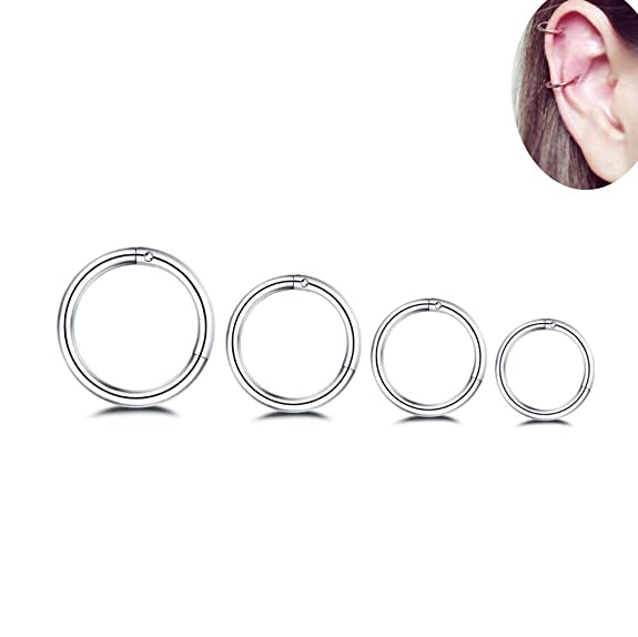 4 Pcs Surgical Stainless Steel Gold 16 G Sleeper Cartilage Tiny Hoop Earrings Septum Hinged Clicker Nose Ring Helix Tragus Piercings 6mm 8mm 10mm 12mm Set by Changgaijewelry