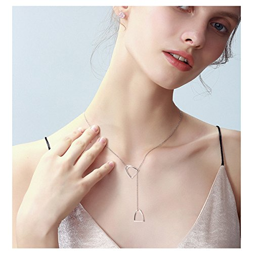 YFN Jewelry 925 Sterling Silver Simple Double Horse Stirrup Lariat Necklace Gift for Women Girls by YFN (Image #3)