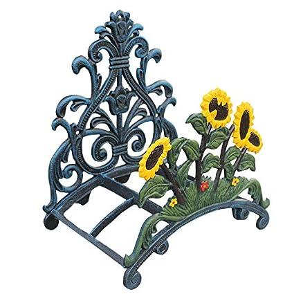 Sungmor Heavy Duty Cast Iron Garden Hose Holder,Wall Mounted Hose Rack,Decorative Hose Hanger,Antique Garden /& Yard Decorations