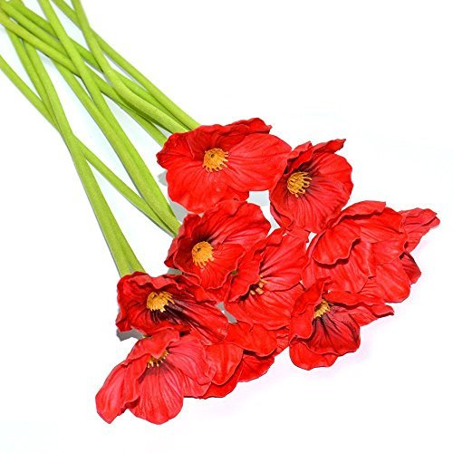Fresh flowers poppies amazon hi boom 10 pcs fresh artificial flowers pu latex poppies artificial mini poppy flowers for wedding bridal bouquet home party decor red mightylinksfo