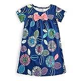 Hongshilian Girls Casual Cotton Short-Sleeved Cute Cartoon T-Shirt Dress (7T(6-7Yrs), Daisy & Blue)