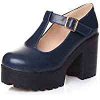 YYCHER Womens Classic Round Toe Platform Mary Janes T-Strap Comfortable Office Walking Dress Pumps (Color : Blue, Size…