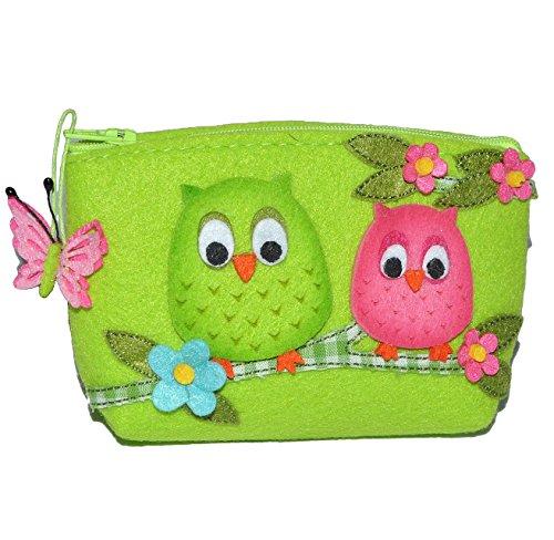 Eule - Geldbörse / Kosmetiktasche / Utensilientasche - 3-D Filztasche - grün für Kinder u. Erwachsene - Utensilio Eulen - kleines Etui / Eulentasche - Blumen - Schminktasche