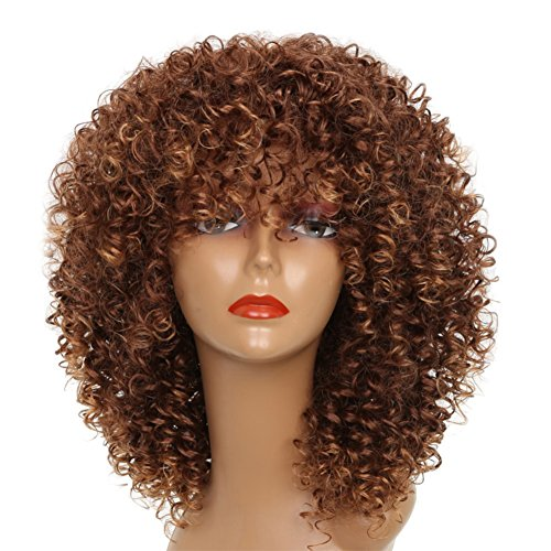 MISSWIG Synthetic Afro Curly Hair Wigs Freetress Brown Wig Short Curly Wigs for Black Women with Wig Cap.