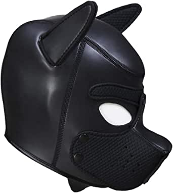 AmaMary88 Cosplay Puppy Mask, Cosplay Role Play Dog Full Head Mask Padded Rubber Puppy Play Mask Soft