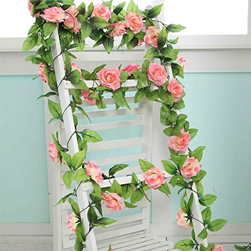 Artificial Rose Flowers Vines Pink Fake Flowers Garland for Home Garden Wedding Party Decor Silk Flower 5pcs