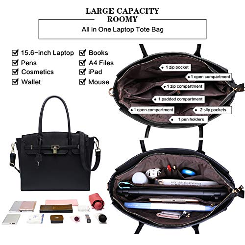 Laptop-Bag-for-Women,Laptop-Bag 15.6-inch Multi-pocket Laptop-Tote-Bag Professional Briefcase-for-Women Large Capacity Work-Tote-Bags for Business Women Teachers Lawyers Students,black