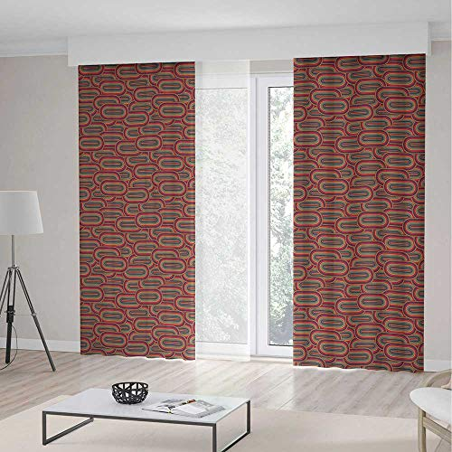 - Geometric Room Decor Curtains,Vintage Mixed Inner Oval Creative Figures Horizontal Rounds in Various Tones,Living Room Bedroom Curtain 2 Panels Set,197 W 104 L,Multicolor