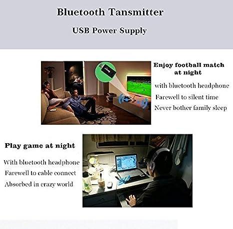USB Transmisor Bluetooth, kanglongjia Portátil Inalámbrico Música Adaptador Transmitter Estéreo 3.5mm para Hogar y Sistemas del Sonido Coches (TV, Ordenador ...